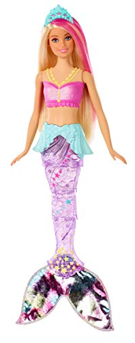 Barbie Dreamtopia Sparkle Lights Mermaid Doll with Swimming Motion and Underwater Light Shows, Approx 12-Inch with Pink-Streaked Blonde Hair, Gift for 3 to 7 Year Olds