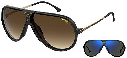 Carrera Gafas de Sol CHANGER65 Black/Brown Shaded Grey Blue Lenses 67/7/135 unisex