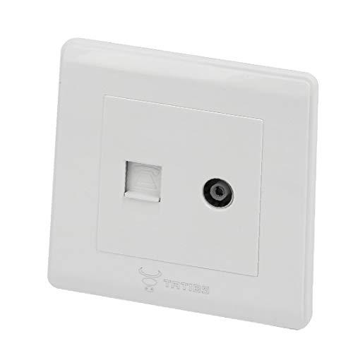 X-DREE TV - Antennenbuchse RJ 12 6P6C - Telefonsteckdose - Anschlussblende Weiß (20f8e59307ddca41361d49f4d22a9d96)