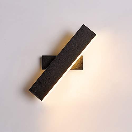 Goeco Lámpara de pared LED, Lámpara de pared rectangular 8W, Lámpara de pared giratoria creativa, usado para Cabecero de dormitorio Pared de fondo Corredor, blanco cálido, ángulo ajustable
