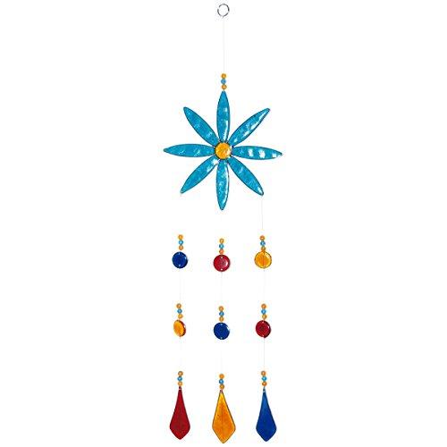 laroom 14035 – Pendentif Fleur Turquoise avec Boucles d'oreilles 47 cm, Couleur Multicolore