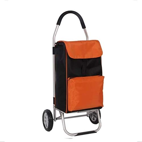 gujiu Folding Lightweight Shopping Trolley Lightweight Foldable Travel/Grocery Trolley Cart/2 Wheels and Zip Pocket Oxford Cloth Mobility Trolley Bag Cart (Color : Orange) (Color : Orange)
