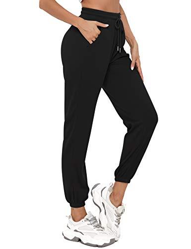Aibrou Jogginghose Damen Sporthosen Lang Trainingshose mit Tunnelzug und Seitentaschen Loose Baumwolle Laufhosen Fitness High Waist Freizeithosen Sweathose