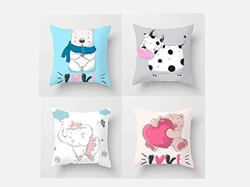 Funda de almohada cuadrada decorativa de algodón y lino con diseño de animales, fundas de cojín, fundas de almohada para salón, sofá cama con cremallera invisible, 50 cm x 50 cm, paquete de 4