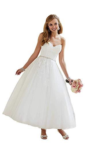 YASIOU Hochzeitskleid Standesamt Prinzessin Damen Herzausschnitt 3/4 Länge Glitzer Gürtel A Linie Weiß Tüll Brautkleider Hochzeitskleider