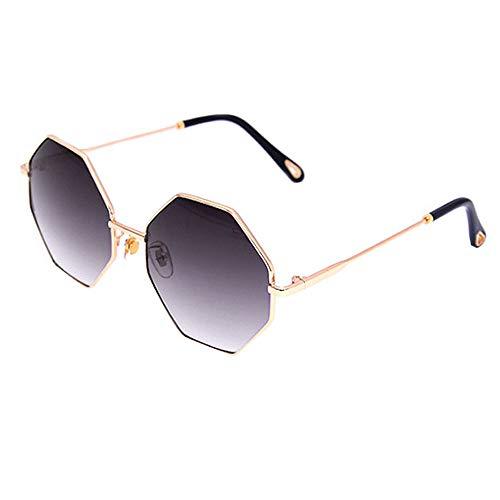 MEGAUK Damen Sonnenbrille mit Achteck Brillenglas Oversized UV Schutz Sonnen Brille Große Gläser Eyewear mit Metall Rahmen (Grau)