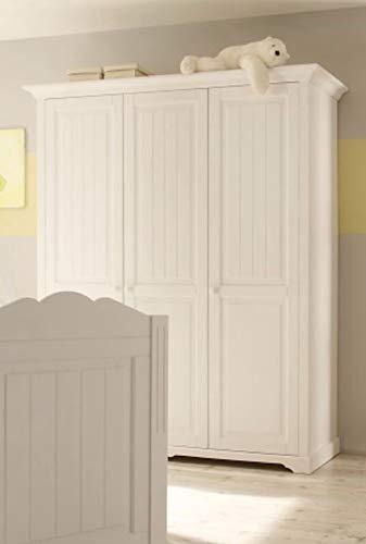 Froschkönig24 Cinderella Premium 3-TRG Kleiderschrank Schlafzimmer komplett Komplettset Schrank Kiefer Weiß lackiert