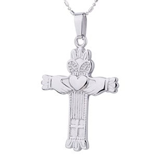 Irish Heart and Crown Cross Claddagh Pendant Necklace. Stainless Steel - Lovers Heart Celtic Triquetra Jewelry Design - Irish Gifts (Christian Claddagh Cross Crucifix Pendant)