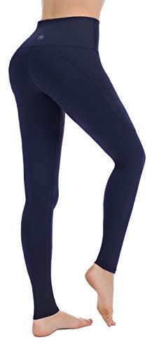 PUNZYMO High Waist Leggings Damen Sport Fitness Yogahose Lange Blickdicht Leggins Fitnesshose mit Taschen, Navy Blau, S