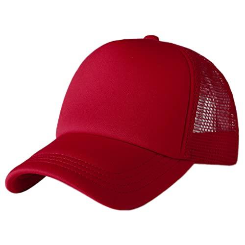 Q4S Gorra Unisex Gorra De Béisbol De Malla Lisa Informal Sombreros Ajustables Snapback para Mujeres Hombres Gorra De Camionero Hip Hop Ropa De Calle-Vino Tinto 25
