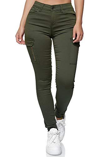 Elara Damen Cargo Jeans Slim Fit Seiten Taschen Chunkyrayan YH2527 Olive-42 (XL)