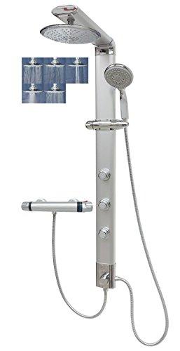 Duschpaneel mit Thermostat Regendusche Duschsäule Silber Handbrause Massagedüsen Shower Panel