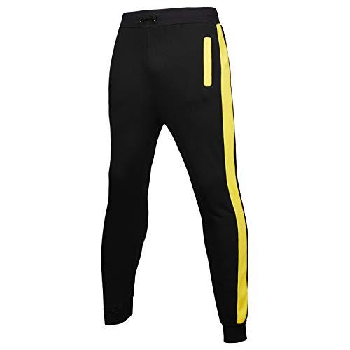 Pantalones de chándal para Hombre, Ejercicio físico, elástico, Ajustado, a la Moda, con Rayas Laterales, pies, Pantalones para Correr 3X-Large