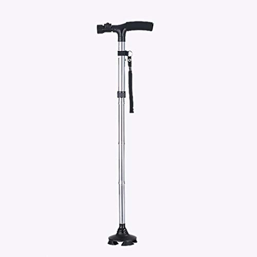 Four-Legged Cane with LED Light,Height Adjustable Cane Aluminum Alloy,Elderly Cane Five Gear Adjustment,Walking Canes with Non-Slip Mat,Silver