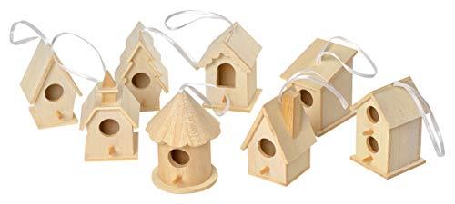 8 Deko Vogelhäuser zum Aufhängen Holz Vogelhaus Basteln Dekorieren, von VBS