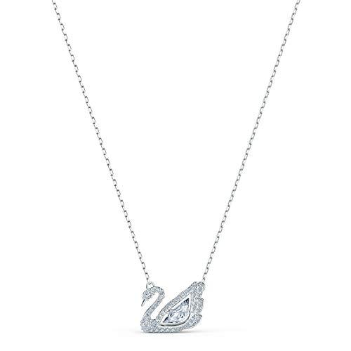 Swarovski Dancing Swan Halskette, Rhodinierte Damenhalskette mit Funkelndem Weißen Element und Weißen Swarovski Kristallen