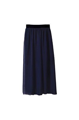 Falda Mujer Larga de Gasa Casual Cintura Alta Color Sólido Midi Falda Retra en Verano Armada F