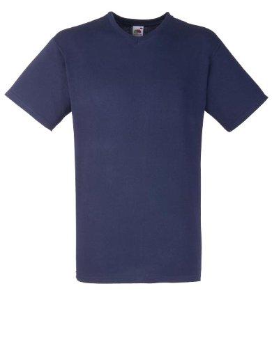 """Fruit of the Loom T-shirt à manches courtes avec col en V Valor T - Bleu - M / 38""""-40"""""""