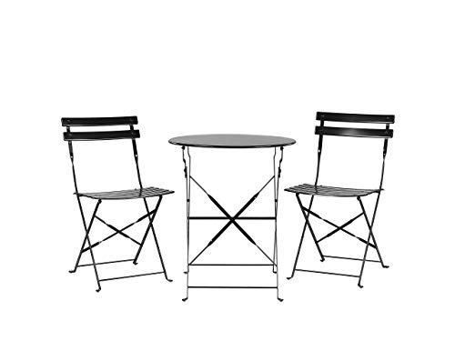 Outdoor Patio 3 Piece Bistro Set Black Steel Round Table and Chairs Fiori