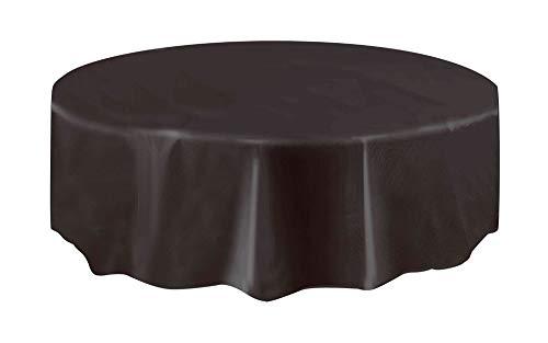 Unique Party Supplies Kunststoff-Tischdecke, rund, 213,3 cm, Kunststoff, schwarz, Einzelpackung
