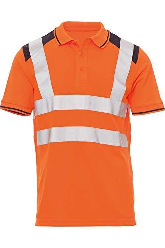 Mivaro Herren Warnschutz Poloshirt, Hohe Sichtbarkeit durch Reflexstreifen EN ISO 20471 Klasse 2, Größe:5XL, Farbe:Neonorange