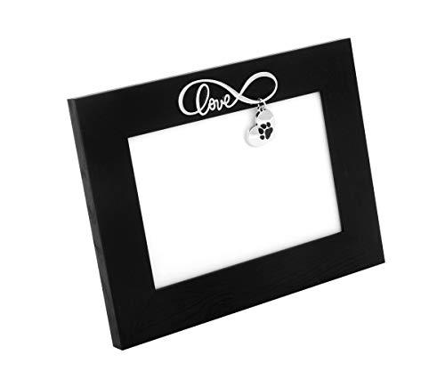 Brillibrum Cornice portafoto di design con impronte di zampe, 10 x 15 cm, argentata, con foto di cane opaco, idea regalo (2 – senza incisione)