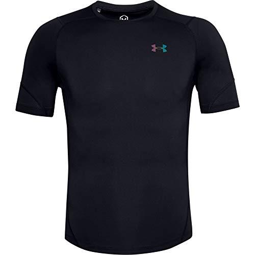 Under Armour Maglietta da Uomo UA HG Rush 2.0 Comp SS, Uomo, T-Shirt, 1356624-001, Nero/Nero, L