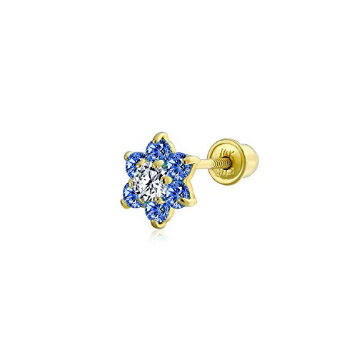 Royal Blue Cubic Zirconia Flower Helix Cartilage Ear Lobe Piercing Daith CZ 1 Piece Stud Earring Real 14K Gold Screwback