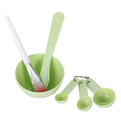 Ensemble de bol de mélange de visage 6pcs, kit d'outils de mélange de visage bricolage 4 en 1 avec masque facial bol stick spatule masque facial brosse tasse à mesurer (vert)