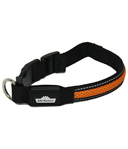 Dehner Collar de Perro con luz LED Flash Collar, Longitud 41 cm, Altura 2,5 cm, Tejido de Malla, Negro/Naranja