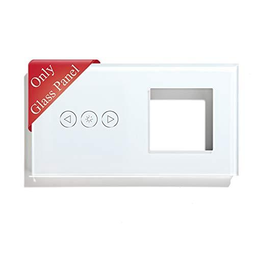 BSEED Panel de marco de vidrio con marco para interruptor de luz de atenuación de WIFI y enchufe panel de vidrio de cristal panel de vidrio para interruptor de 3 Gang Blanco 157 mm