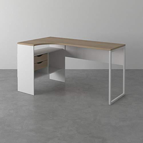 Tvilum Function Plus Schreibtisch Eckschreibtisch, Holzwerkstoff, weiß, 145x 81 x 76,8 cm