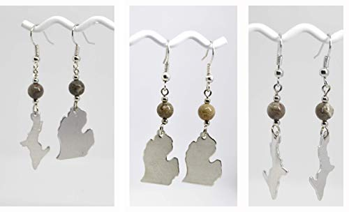 Petoskey stone fossil and Michigan shape earrings with 6 mm fossil bead nickel hook, your choice jewelry drop
