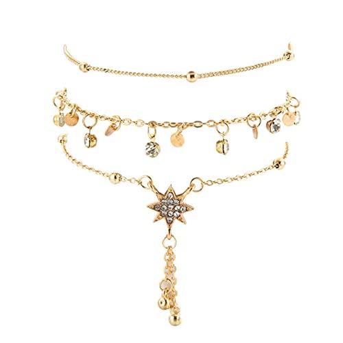 Quarter Tobillera de Oro para Mujer, Tobilleras de Plata de Ley 925 con Diamantes para Mujer, Tobillera de eslabones de Cadena de Estrella de Seis Puntas para Mujer