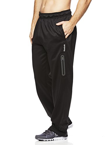Reebok Men's Tremont Track Pants - Performance Activewear Running Bottoms- Midnight Black/Black, Large