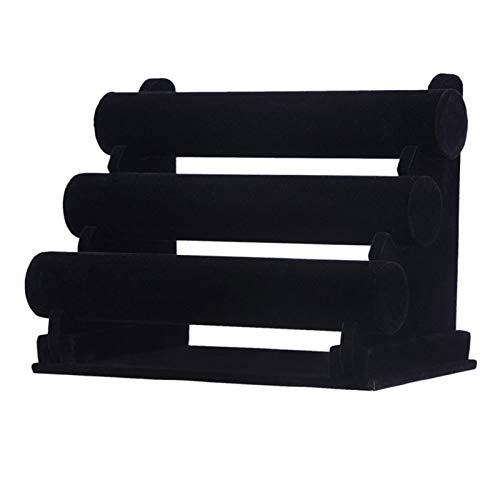 Saicowordist - Estante de exhibición de joyería de cuero de terciopelo negro con tres capas para organizar y exhibir joyas