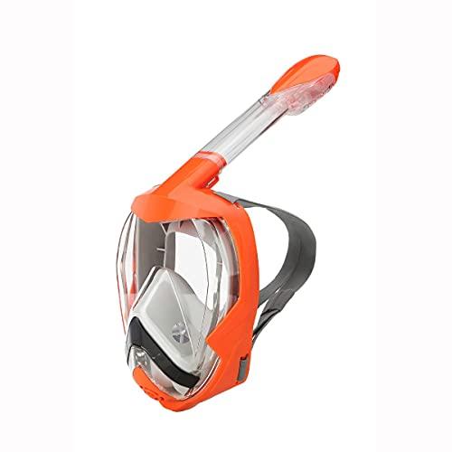 XUERUIGANG Máscara de snorkel de cara completa: tecnología antie niezosa y anti de fugas, máscara panorámica de 180 grados para adultos y jóvenes, muy adecuado para los entusiastas del buceo (naranja)