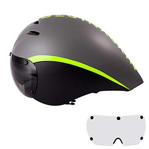 BTY-BICYLEN Casco Bici Corsa Casco Ciclismo Corsa Occhiali Lenti Triathlon Aero Helmet Road in-Mold Gray 1 Lens