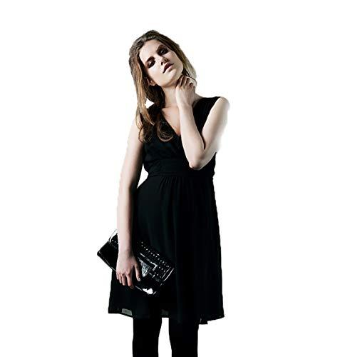 Vestido de mujer con cintura, color azul mediano Negro (Black) 40-42
