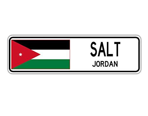 TammieLove - Cartello stradale con sale, Jordan, bandiera della Giordania, città, campagna, strada, cartello stradale, 10 x 40,6 cm