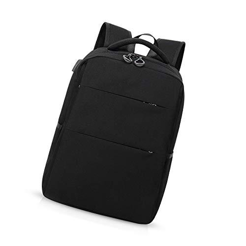 Mochila para portátil de 15,6 pulgadas de viaje delgado con puerto de carga USB mochila impermeable poliéster negro
