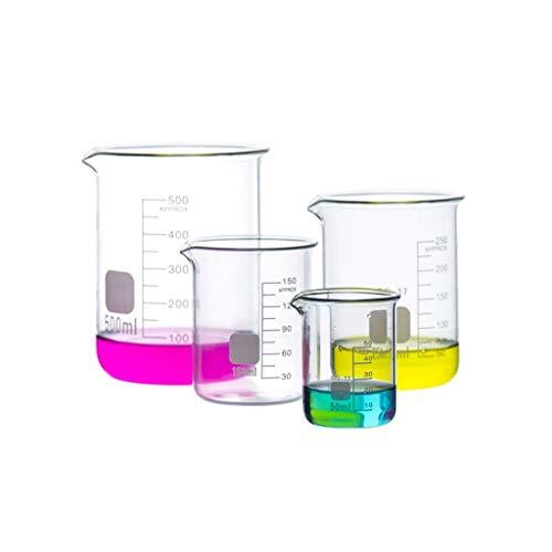 LBWT 4PCS Lab verdickte Glasbecher, Chemische Becher mit Skala, Werkzeuge Messen, hohe Temperaturbeständigkeit, Experiment Ausrüstung
