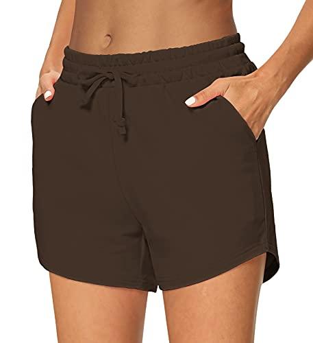 Sarin Mathews Damen Yoga-Shorts, bequeme Kordelzug, Lounge-, Active-Workout-, Laufhose mit Taschen - - Klein