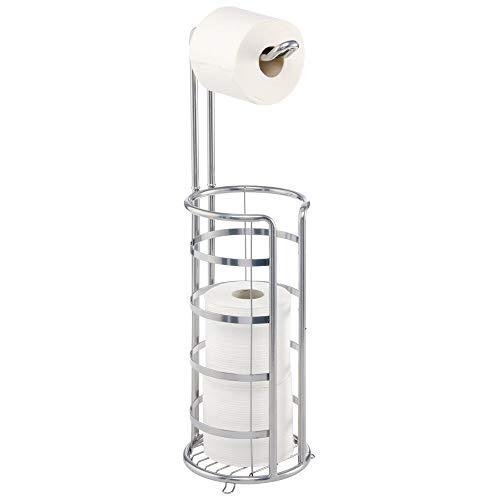 mDesign Toilettenpapierhalter freistehend – moderner Papierrollenhalter für Badezimmer & Gäste-WC – stilvoller Klopapierhalter aus Metall – mattsilberfarben