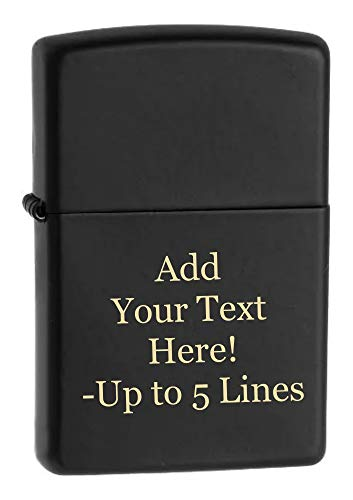 Black Matte Zippo Outdoor Indoor Windproof Lighter Custom Personalized Engraved Message Engraving on Front