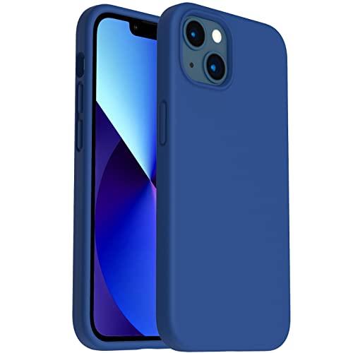 ORNARTO Silicona Líquida Funda Compatible con iPhone 13 Case 6,1', Gel de Goma Protección de Cuerpo Completo de protección contra Choque Protección de caída Funda de Silicona 6,1 Pulgadas-Azul Real