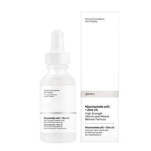 OUTEYE Suero Facial Emulsión Blanqueador Control de Aceite Aclare el Tono de la Piel Esencia Cuidado de la Piel, (10% Niacinamida, 1% Zinc, 30ml Niacinamida)