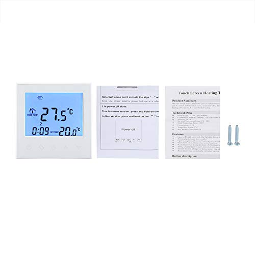 Termostato Digital, Smart WIFI Termostato programable Pantalla LCD digital Controlador de temperatura inalámbrico(white)