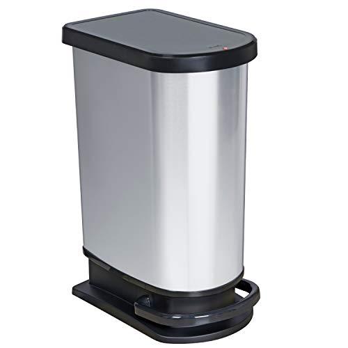 Rotho Paso Poubelle 50L avec Pédale et Couvercle à Charnière, Plastique (PP) sans BPA, Argent Métallisé, 50L (44,0 x 29,0 x 67,0 cm)