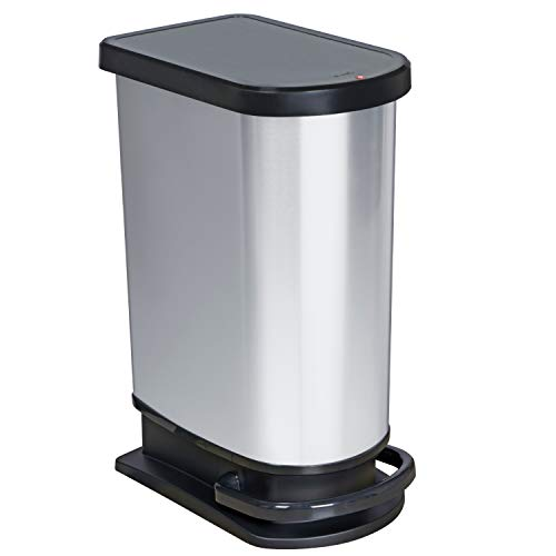 Rotho Paso Mülleimer 50l mit Deckel, Kunststoff (PP) BPA-frei, silber metallic, 50l (44,0 x 29,0 x 67,0 cm)